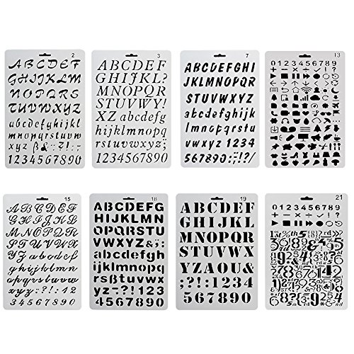 COCODE Plastic Bullet Journal Stencil Template Set of 8 with Letters Number Alphabet Pecfect for Planner/Notebook/Diary/Scrapbook/Journaling/Graffiti/Card DIY Drawing Painting Craft Projects (Graffiti Style Letters)
