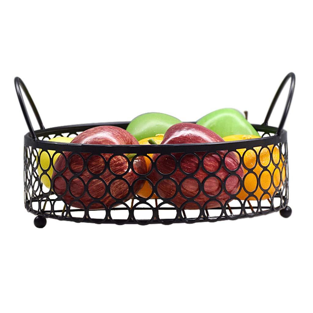 クリエイティブメタル中空フルーツトレイフルーツバスケットプレートフルーツ皿フルーツラックキッチンリビングルームの装飾 (色 : 黒)  黒 B07NQ1SJZR