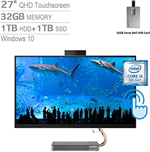 "2020 Lenovo IdeaCentre A540 27"" QHD IPS Touch All-in-One Desktop Computer, Intel Core i5-9400T, 32GB RAM, 1TB HDD+1TB SSD, Intel UHD Graphics 630, Dolby Audio, HD Webcam, Win 10, Grey, 32GB USB Card"