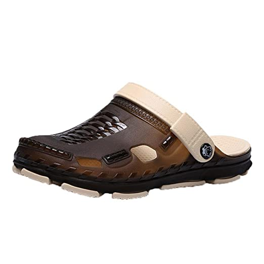61eee0da888454 Garden Clogs for Men Shoes Mules Boat Sandals Slippers Two-Tone Double  Layer Slip-