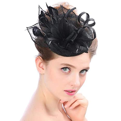 b58c81b22 Amazon.com: YALOEE Pink Pillbox Hat Fedoras Women Bridal Net Hats ...