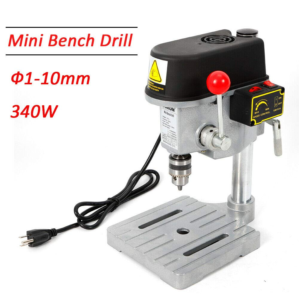 TFCFL 340W 1-10mm Drill Press Bench Mini Work Bench Wood Drilling Machine Power Tools Workshop Equipment US Warehouses