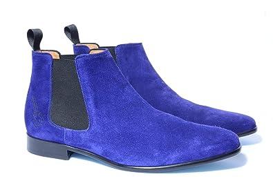 5b7119743834 Chelsea Boots Homme en Daim Bleu