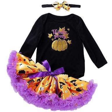 3pcs Vestido Halloween Bebe Niña, Ropa Bebe Niña Disfraz Calabaza ...
