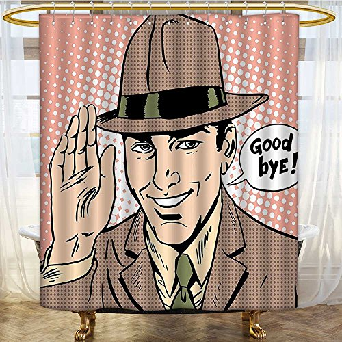 Mikihome Shower Curtains Digital Printing Pop Art Man Says Bye Etiquette Parting Gentleman Peach Light Brown Satin Fabric Bathroom Washable W36 x H84 inch