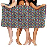 Carmen A Colorful Rainbow Mexican Skulls Bath Towel Adult Microfiber Towel 31 X 51 Inch Bath Sheet