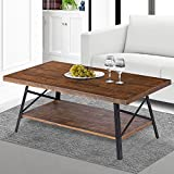 SLEEPLACE SVC18TB01S Terra Cocktail Wood Coffee End Dining Metal Legs/Office Table, Basic Home Decor with Storage Shelf, Brown For Sale
