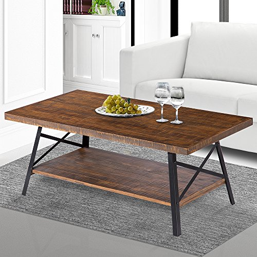 Cheap SLEEPLACE SVC18TB01S Terra Cocktail Wood Coffee End Dining Metal Legs/Office Table, Basic Home Decor with Storage Shelf, Brown