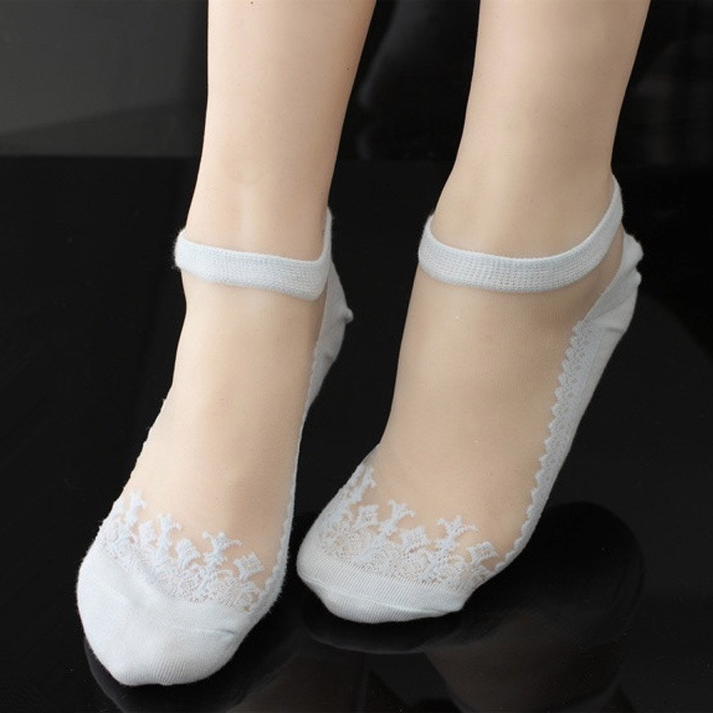 Amazon.com: Daisy Storee Thin Ankle Socks Women Glass Transparent Short Socks Transparent Beautiful Crystal Lace Elastic Short Socks Female: Kitchen & ...