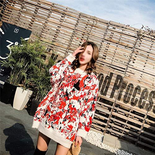 Medio Taglia B Motivo Ampio Dimensione Fuweiencore Unica Giacca Invernale Maglione Spesso Lungo Con Donna B Abito colore Mimetico Da fR6xqRYa