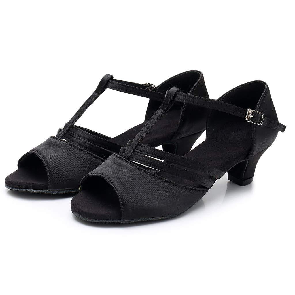 ★QueenBB★ Girls Soft-Sole Satin Ballroom Shoes Latin Salsa Dance Shoes Ballroom Party Ballroom Wear (Little/Big Kid) Black