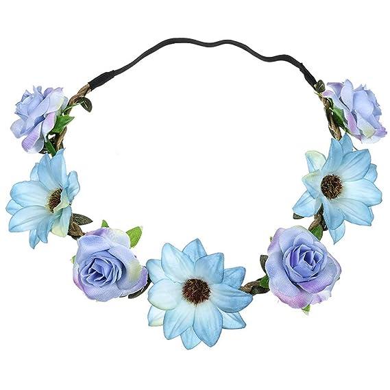 601b510b200997 Neu Garland Damen Simulation Sonnenblume Rose Haarband Stirnband, LEEDY  Mädchen Kopfband Tanzparty Party Geschenk Neuheit Blume Muster bedruckt  Verdreht ...