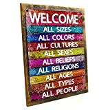 Cheap Homebody Accents Framed All Welcome Metal Sign, Equality, Unity, Peace, Positive Living, Love trumps Hate