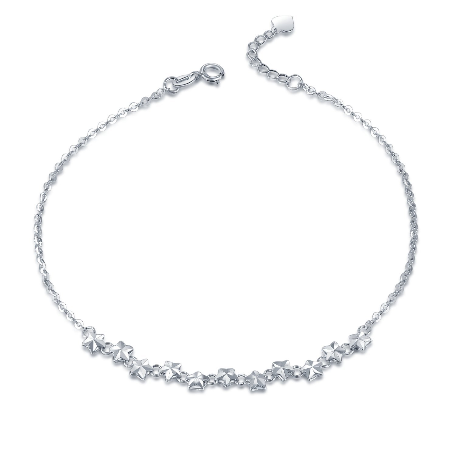 MaBelle 14K White Gold Diamond-Cut Starry Night Twinkle Star Anchor Chain Anklet (9.25'')