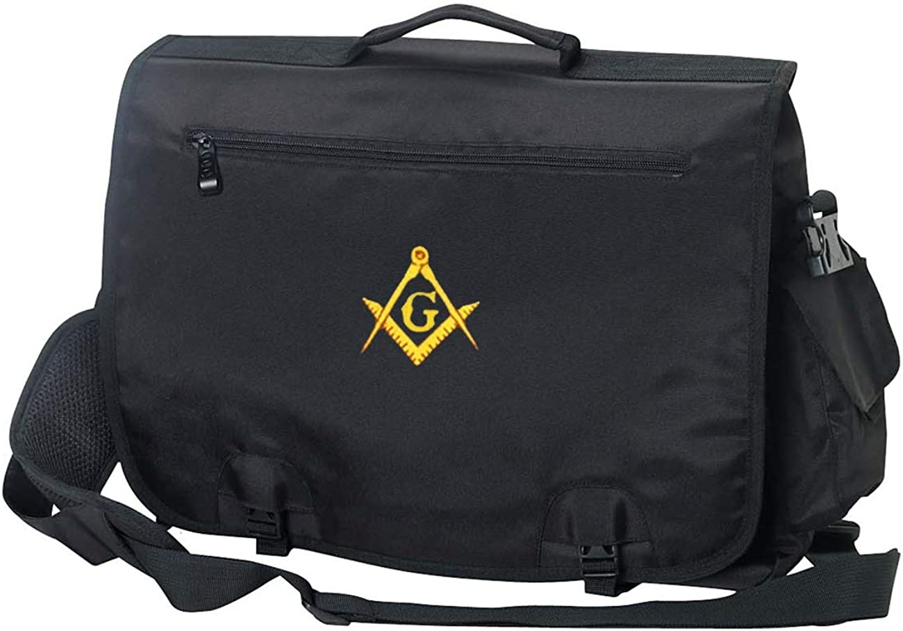 Briefcase Computer Bag Apron Case with Embroidered Masonic Square Compass