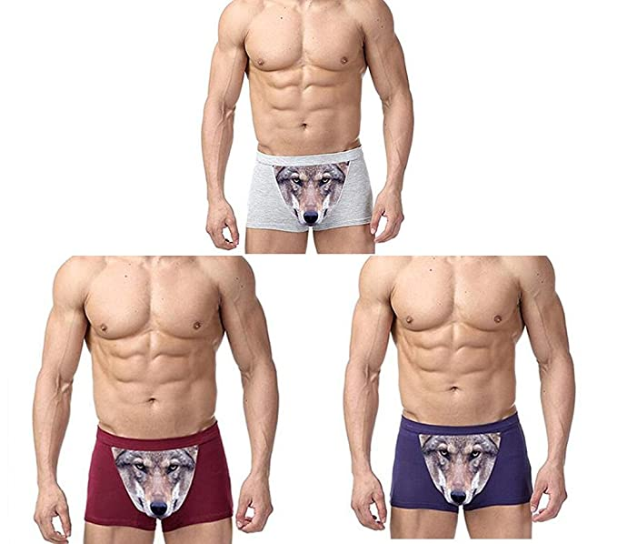 d143b63d1ca2d6 Image Unavailable. Image not available for. Color: 3pcs/lot mens fashion wolf  underwear funny 3D print boxers shorts