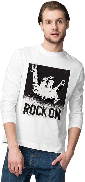 BLAK TEE Hombre Rock Hand Gesture Illustration Camisa De Manga Larga: Amazon.es: Ropa y accesorios