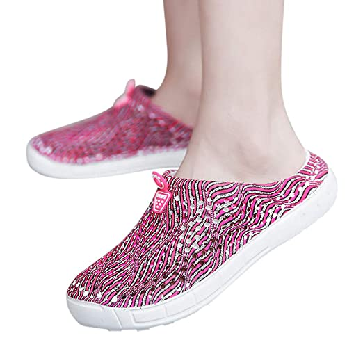 a17d7f6ff460bd Amazon.com: Fainosmny Flat Water Shoes Hollow Beach Shoes Summer Womens  Sandals Printed Slippers Ladies Rain Shoes Slip On Sandals: Clothing
