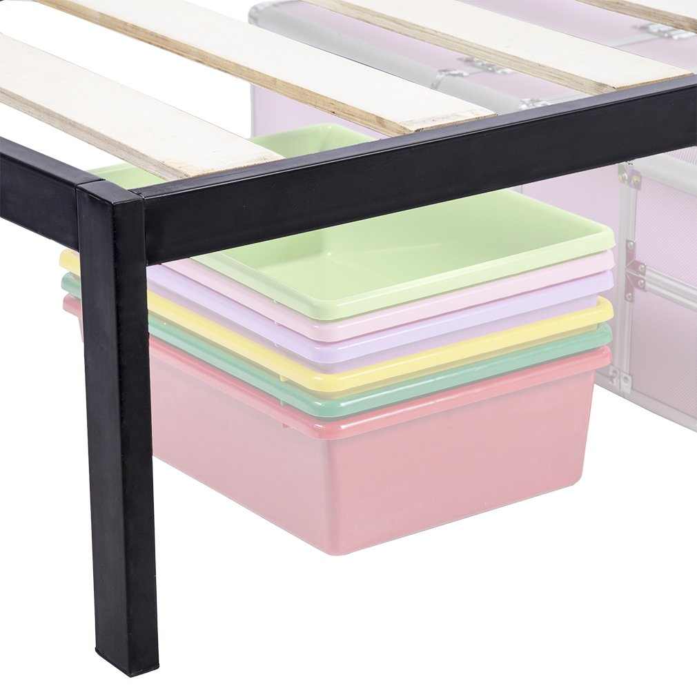 Bed Frame Metal Platform Bed Frame 14 Inch Heavy Duty Wood Slat Steel Frame Twin Size by BestMassage (Image #4)