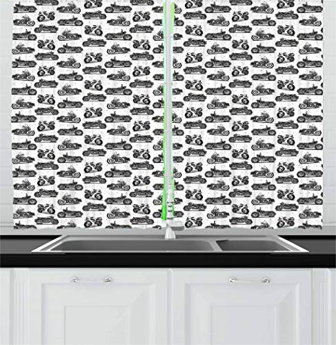 Ambesonne Motorcycle Kitchen Curtains, Retro Motorcycle Drawings of Old-Fashioned and Modern on White Background, Window Drapes 2 Panel Set for Kitchen Cafe, 55 W X 39 L Inches, White and Black