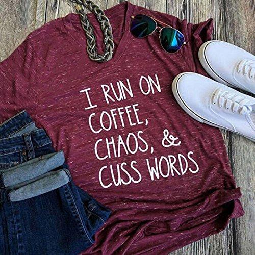 FAYALEQ Womens I Run On Coffee Chaos Cuss words Funny T Shirt V-Neck Short Sleeve Tops Size XL (Burgundy)