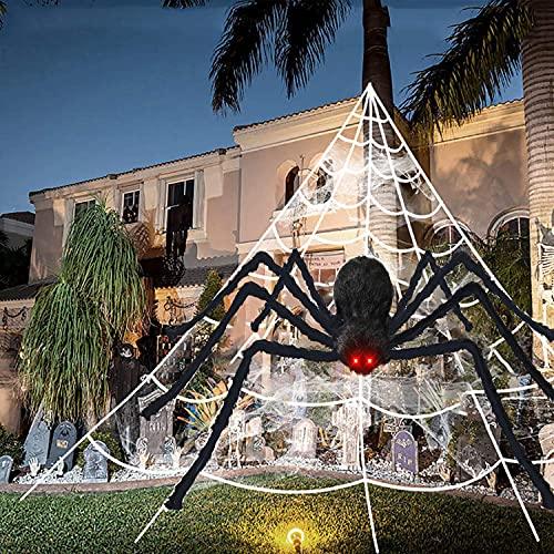 "Halloween Spider Decorations, 65"" Giant Spider+16FT Triangular Huge Spider Web, Stretchy Cobweb+Plastic Fake Spiders, Scary Large Spider Halloween Party Props Decor Indoor Outdoor Home Garden Yard"