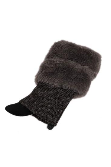 Yacun Chaqueta de piel falsa pierna invierno calentador ganchillo mujer hacer punto calcetines de arranque DarkGrey 05DarkGrey_Free Size: Amazon.es: Ropa y ...