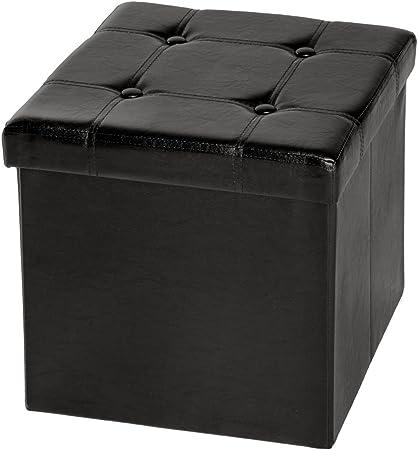 TecTake Asiento Plegable arcón Asiento puf ordenación Caja de almacenaje 38x38x38 cm Negro (No. 401472): Amazon.es: Hogar