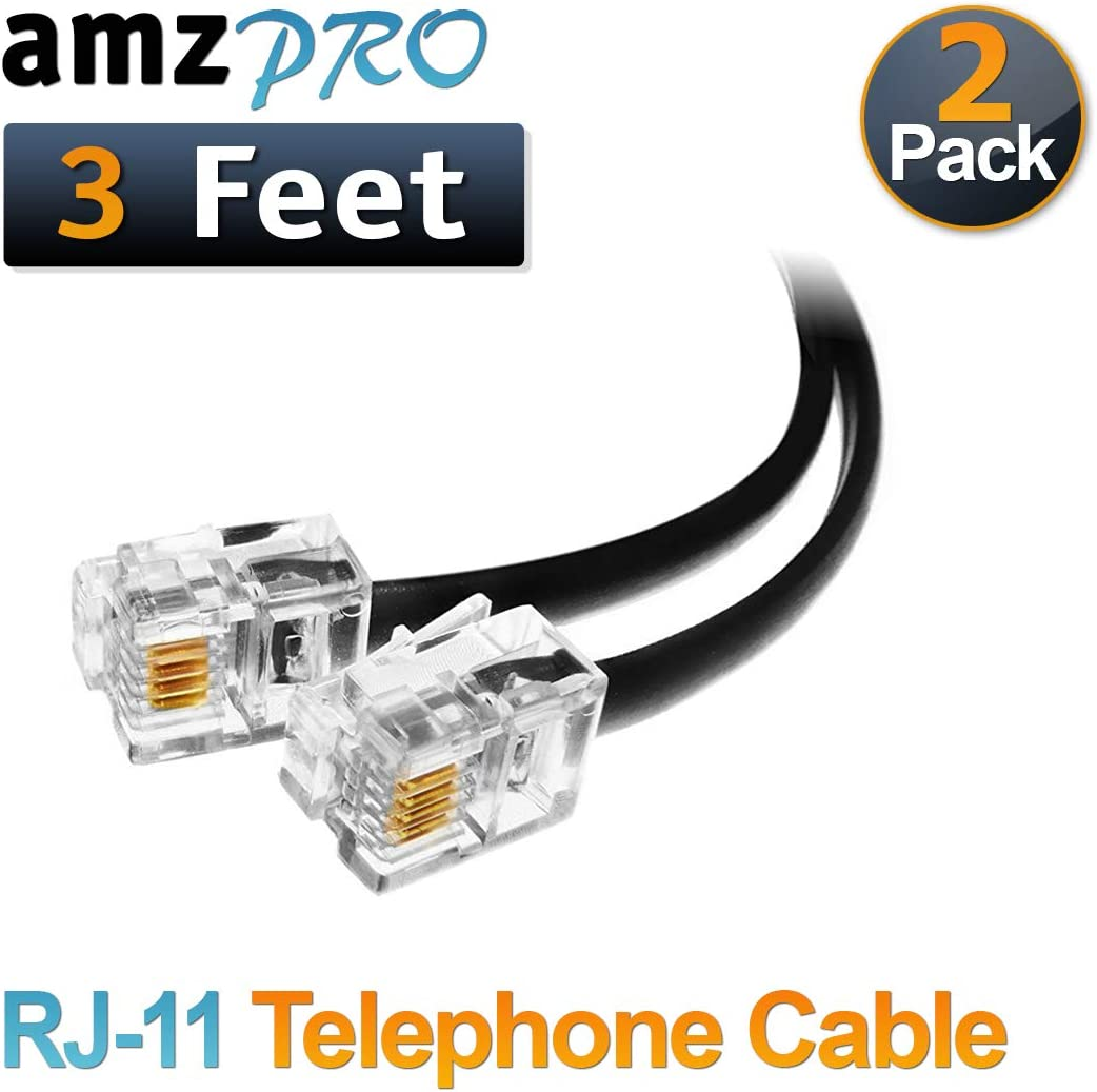 (2 Pack) 3 Feet Black Short Telephone Cable Rj11 Male to Male 36 inch Phone Line Cord 61IrvzvOrsL