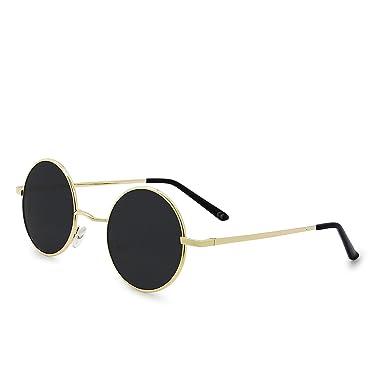 AMZTM Retro Steampunk Clásico Vintage Moda Metal Frame Redondo Círculo Gafas De Sol Polarizadas Hombre Mujer Gafas De Conducción UV 400 Protección