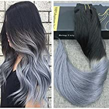Ugeat 24inch 7Pcs Full Head Brazilian Real Human Hair Clip in Balayage Ombre Extensions 120 Gram Two Tone Color #1B Black Fading to Silver Grey Clip Remy Human Hair Extensions
