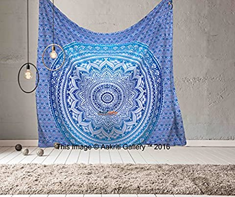 Tapestry Queen Ombre Gift Hippie tapestries Mandala Bohemian Psychedelic Intricate Indian Bedspread 92x82 Inches Aakriti Gallery (Blue) - American Flag Tapestry