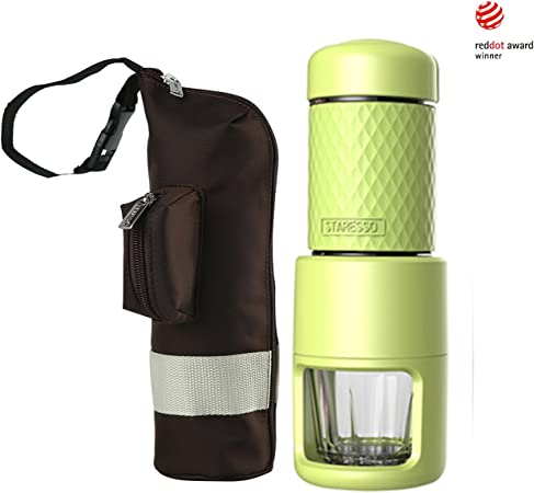 STARESSO SP-200 Cafetera Italiana Express Manual de Viaje Máquina de Café Capuchino Portátil con Copa de Cristal Color Negro (Verde + bolsa): Amazon.es: Hogar