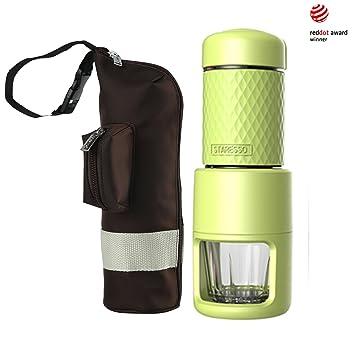 STARESSO SP-200 Cafetera Italiana Express Manual de Viaje Máquina de Café Capuchino Portátil con Copa de Cristal Color Negro (Verde + bolsa): Amazon.es: ...