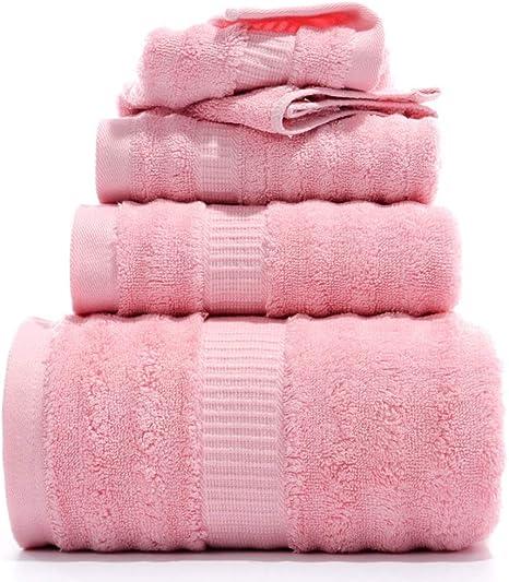 LALLing Set 4 Pezzi Set di Asciugamani in bamb/ù Rosa Set per Bagno per Bambini Set di Asciugamani per la Doccia per Adulti