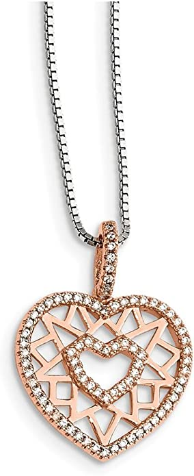 Lex /& Lu Sterling Silver CZ 18 I Heart You Necklace