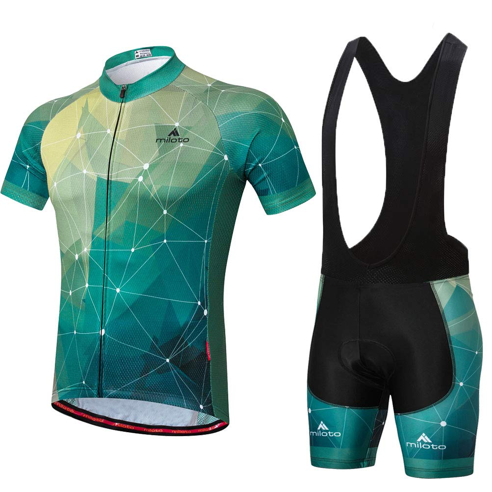 Uriah Men's Cycling Jersey Bib Shorts Sets Short Sleeve Reflective Green Stars Size L(CN) by Uriah