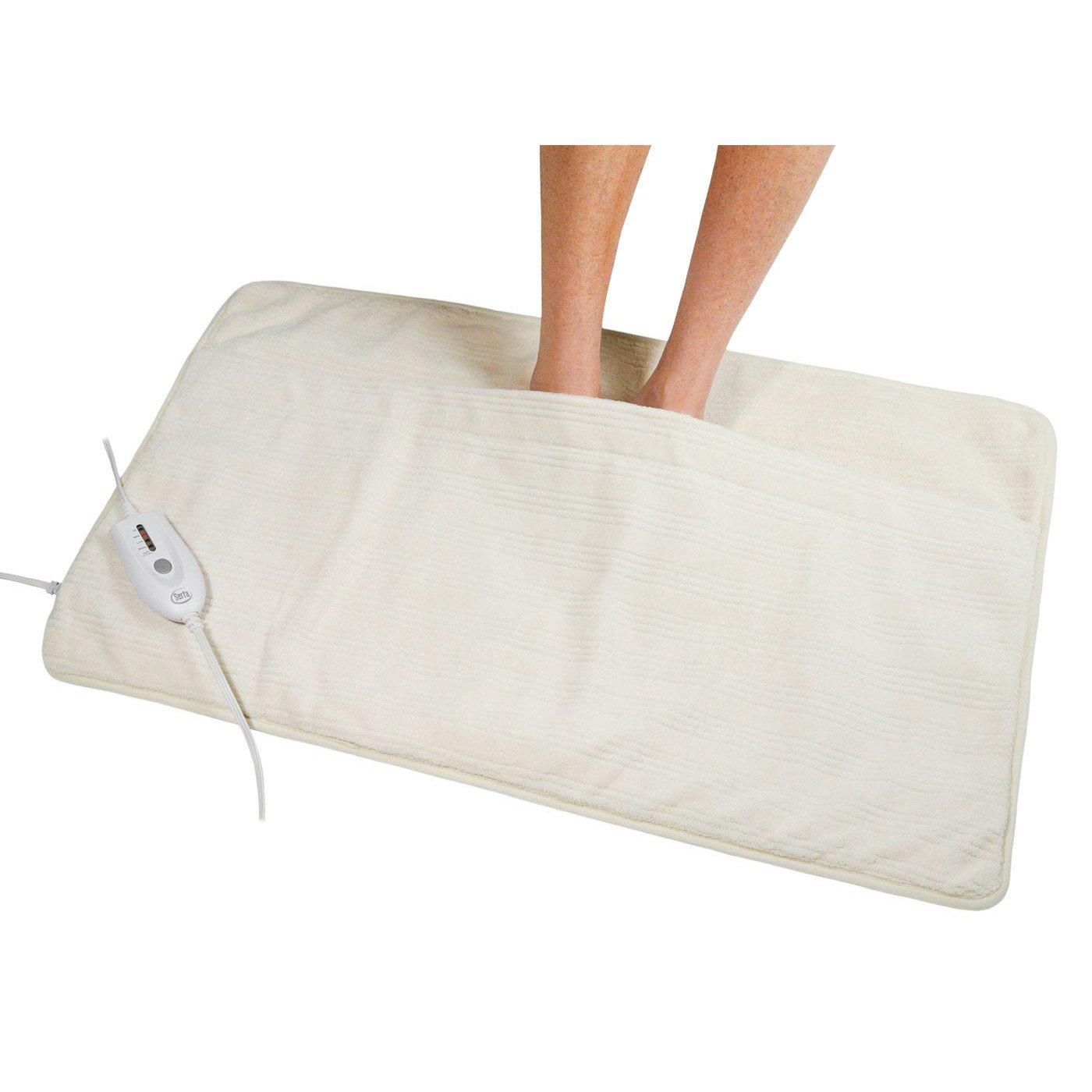 Serta   Ultra Soft Plush Electric Heated Warming Pad for Feet, Back, Waist, and Abdomen, 35x20, Ivory