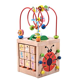 Ulmisfee Activity Cube Toys Baby Educational Wooden Bead Maze Shape Sorter For 1 2 3 Blue year old Boy And Girl Toddlers Gift