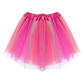 VORCOOL Falda tutú para niñas con Estampado de arcoíris, Faldas de ...