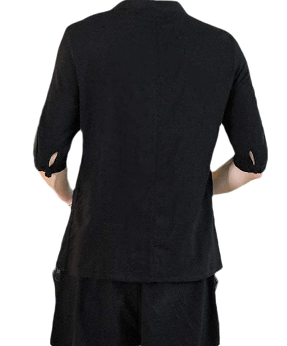 HEFASDM Mens Linen Tang Suit 3//4 Sleeve Casual Pure Colour Western Shirt