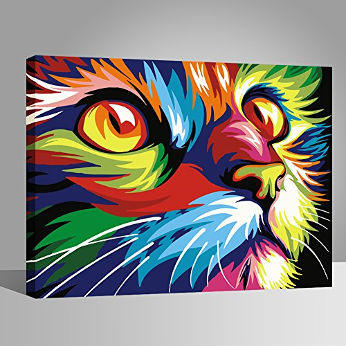 LIUDAO Paint by Numbers for Adult Kids Beginner Oil Painting on Canvas - Colorful Cat (16x20 Inch, Wooden Frame)