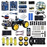 UCTRONICS Smart Bluetooth Robot Car Kit - UNO R3 for Arduino, Line Tracking, Ultrasonic Sensor, HC-05 Bluetooth, L239D Motor Shield, IR Remote Control, Mobile APP - 18650 Battery & Charger Included