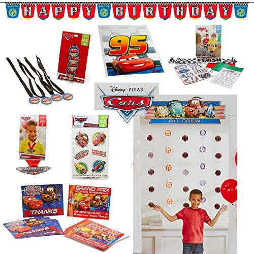Disney Cars Birthday Party Invitations - Disney Cars Birthday Party Decoration and Favor Kit With Invitations and Thank Yous (16 Guests)