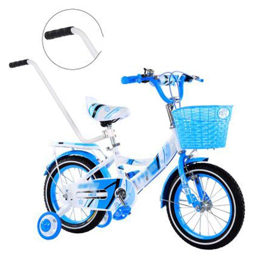 YANGFEI 子ども用自転車 バスケット付きガールズバイク、トレーニングホイール付き12,14,16,18インチのガールズバイク、子供用のギフト、女の子の自転車 212歳 B07DWS8NT5 16 inches|青 青 16 inches