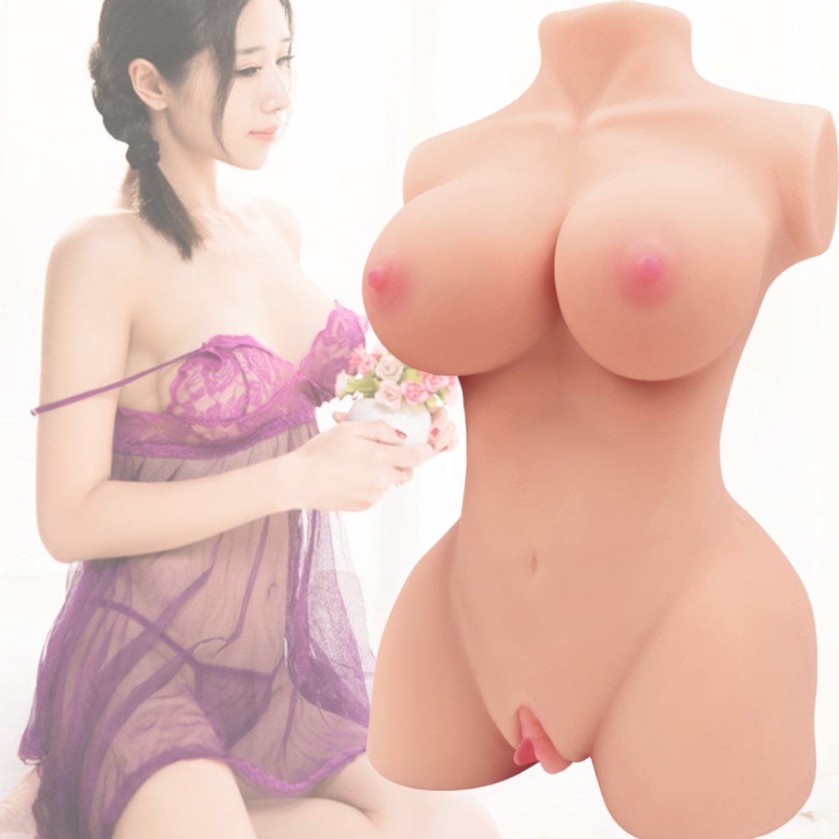 Sex Doll Male Masturbator Realistic 3D Adult Love Toy for Men Masturbation Stroker with Pussy Ass Vagina and Anal 2 Holes Lifelike Pussycat TPE Doll for Men Silicone Women Torso Sex Toy