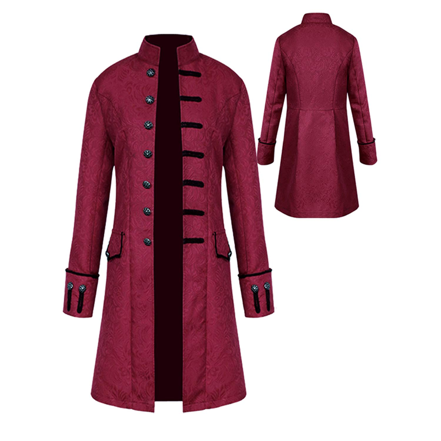 Mens Vintage Tailcoat Jacket Goth Long Steampunk Formal Gothic Victorian Frock Coat Costume for Halloween
