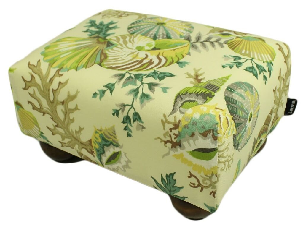 Island Seashells Upholstered Fabric Footstool Ottoman by In the Garden and More