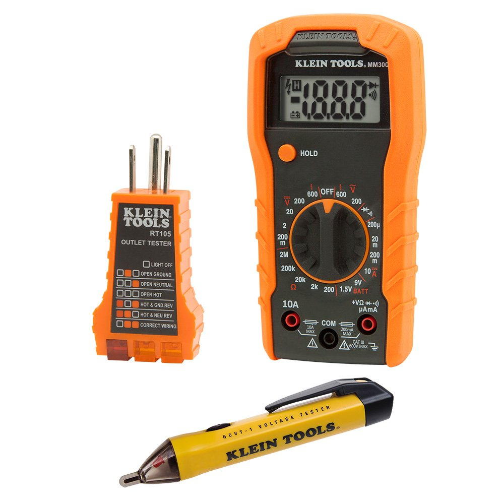 Klein Tools 69149 Electrical Test Kit with Multimeter, Non-Contact Voltage Tester and Receptacle Outlet Tester by Klein Tools
