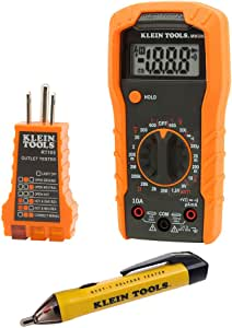 Klein Tools 69149 Multimeter Test Kit, Klein Multimeter, Noncontact Voltage Tester and Outlet Tester, Leads and Batteries Included